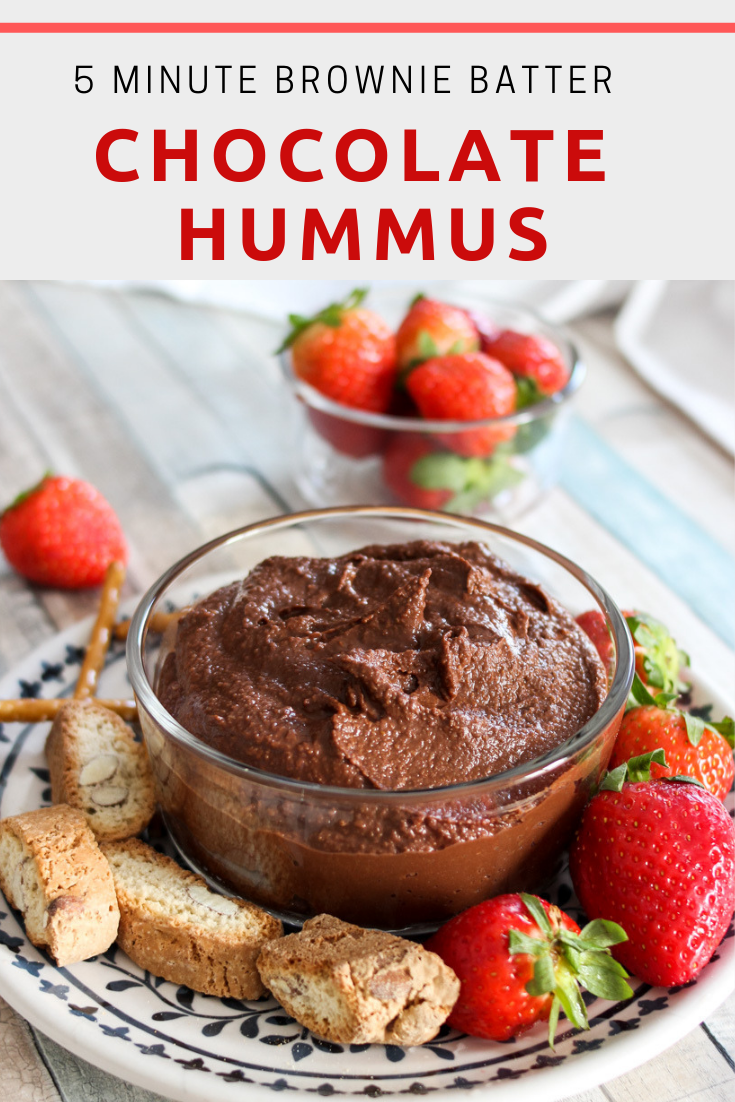Creamy Chocolate Hummus that taste like brownie batter! Healthy snack option! #healthysnack #dessert #healthydessert #chocolate